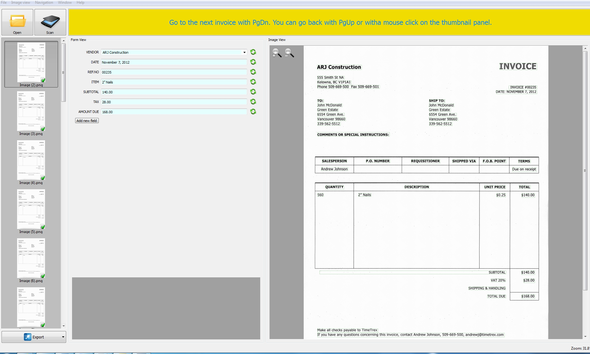 Invoice Scanner Software
