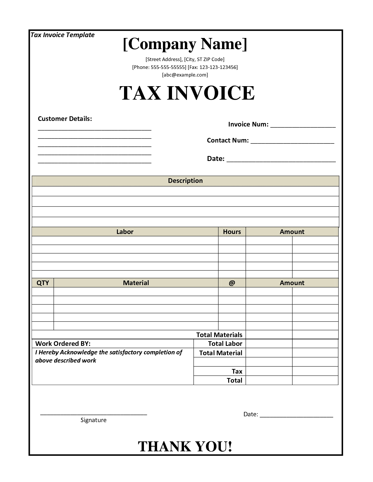 tax invoice template seven format of tax invoice