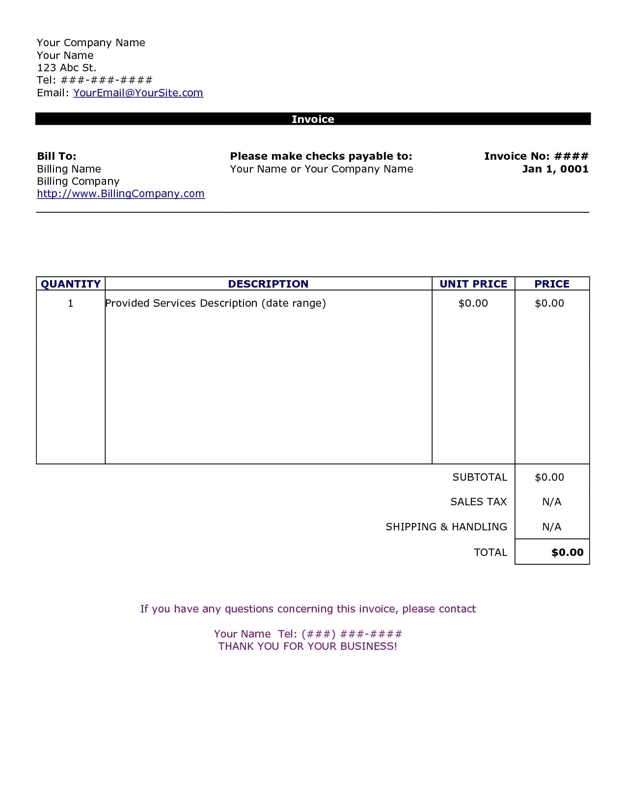Word Doc Invoice