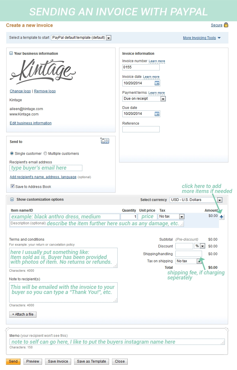 Sending An Invoice On Paypal