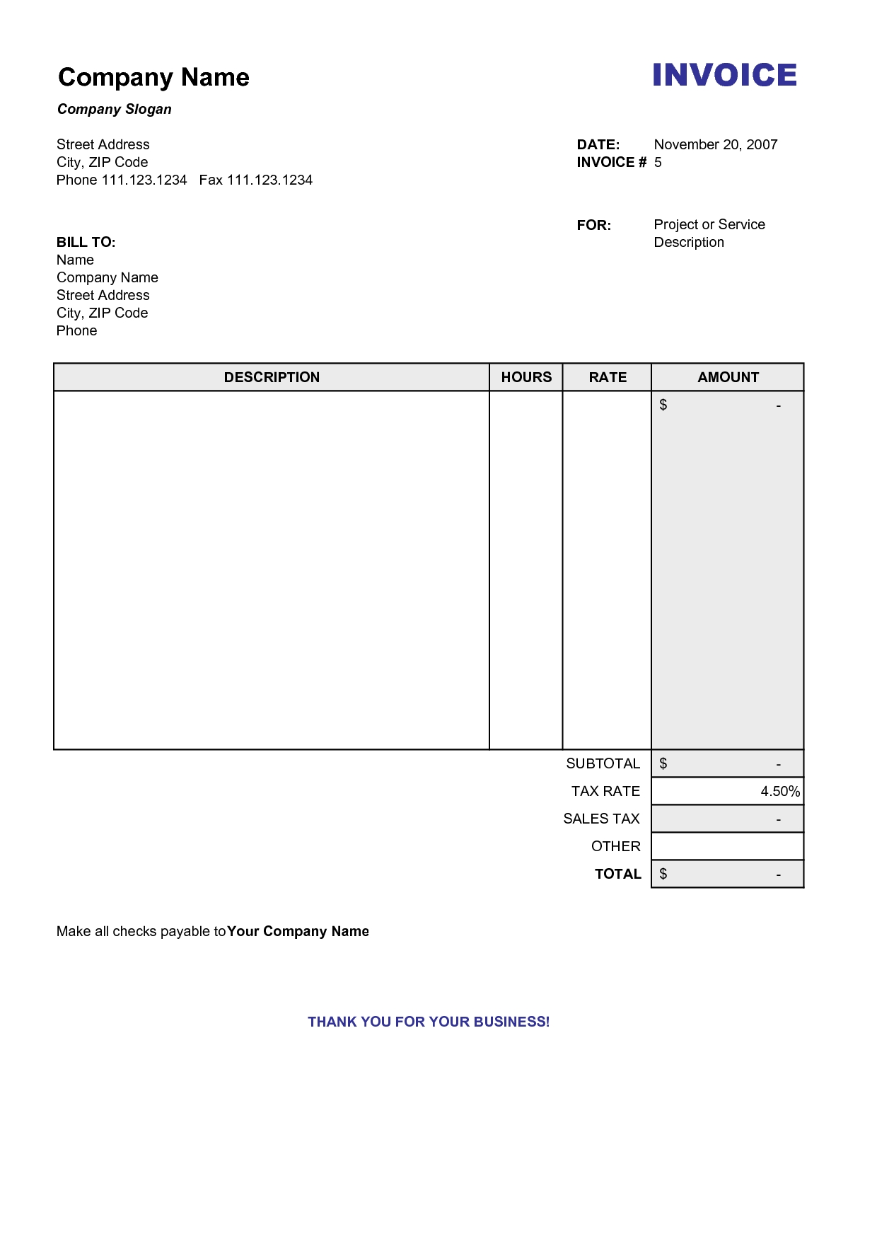 Blank Printable Invoice Template Free Free Business Template Free Printable  Invoice Forms Billing ...  Invoice Forms Printable