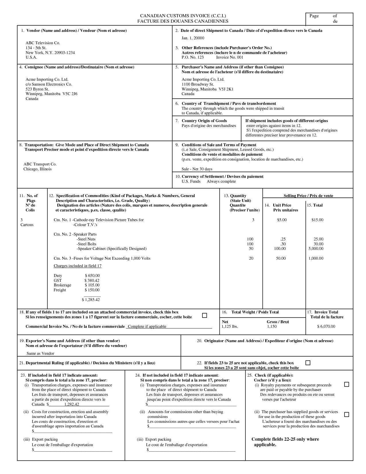Canada Customs Invoice Form