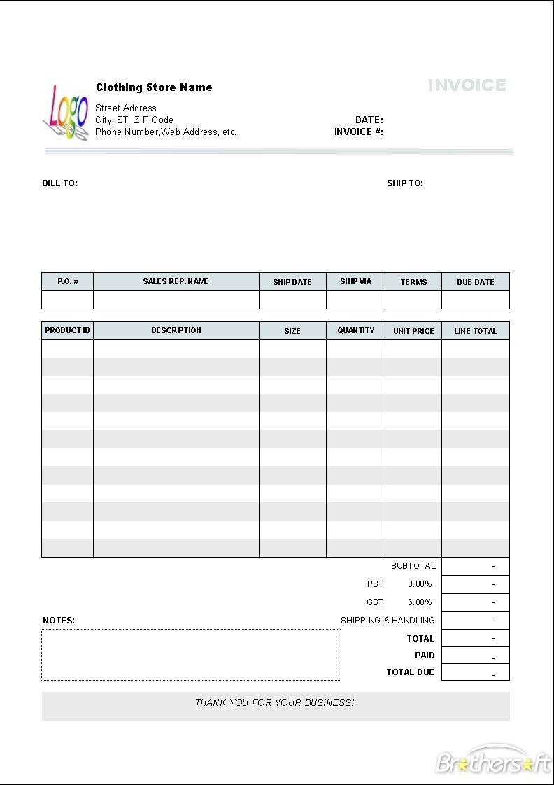 clothing store invoice template and small business invoice small business invoice template