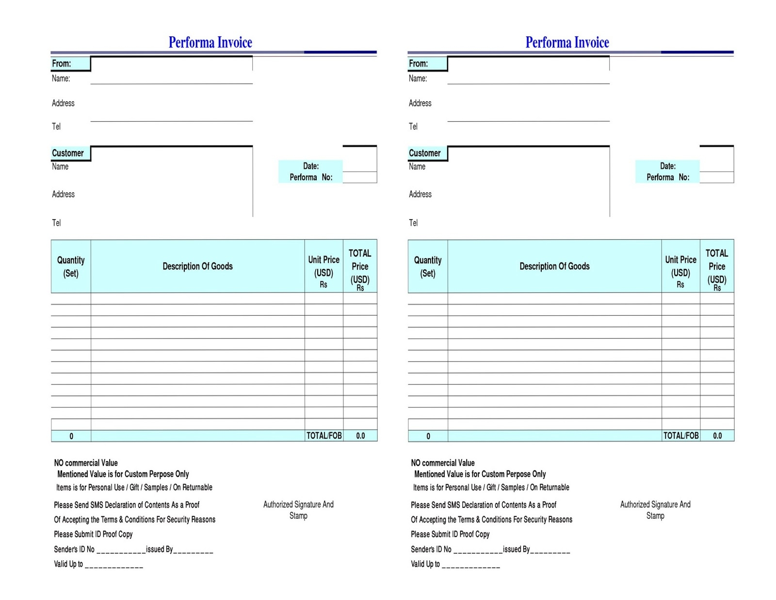 free fedex commercial invoice template excel pdf word doc courier