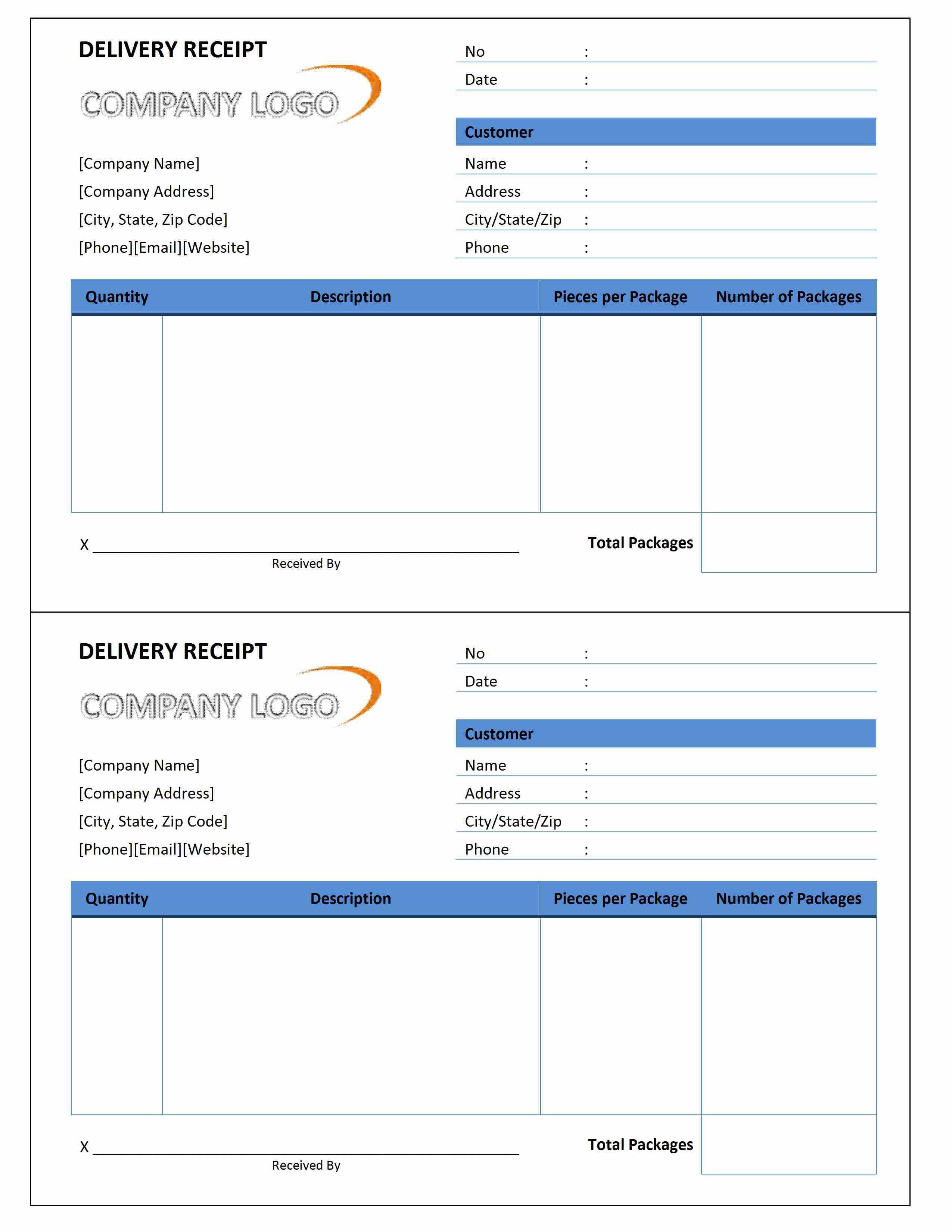Courier Invoice Template
