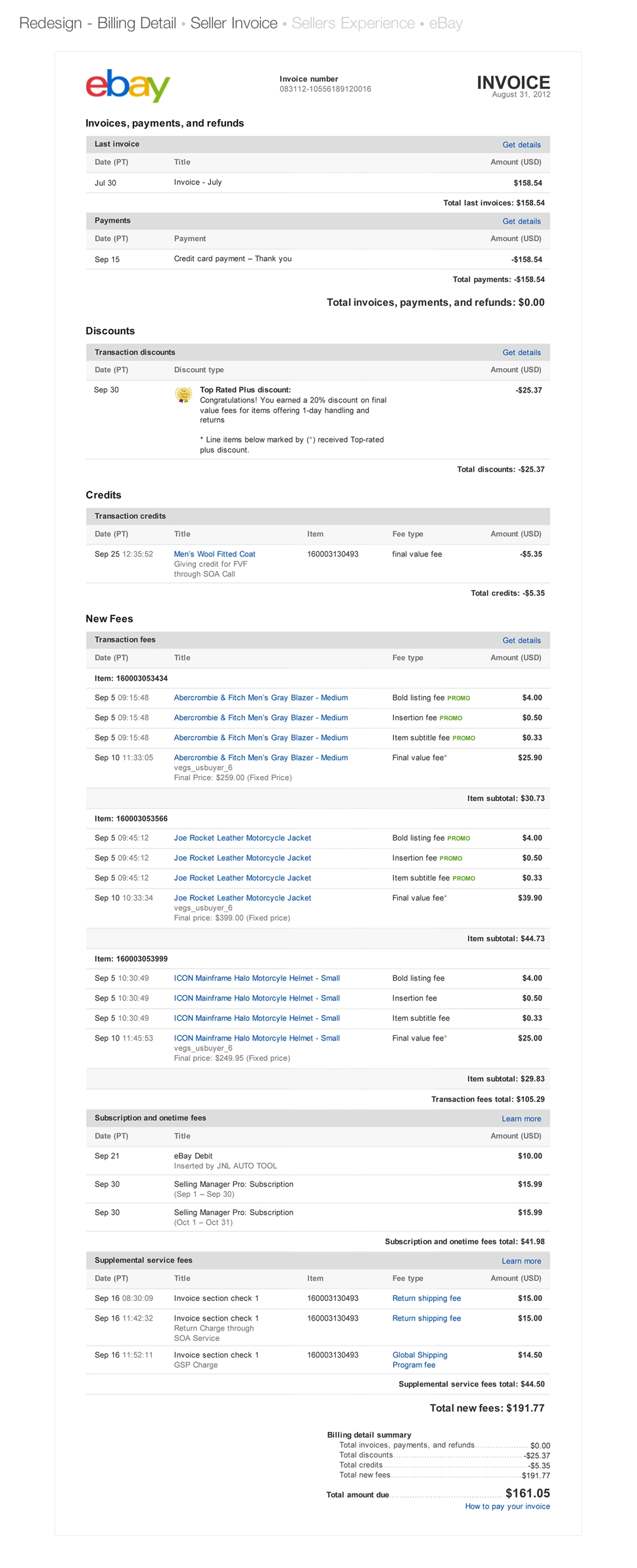 ebay marketplaces seller invoice redesign matthew perry ux ebay invoices for sellers