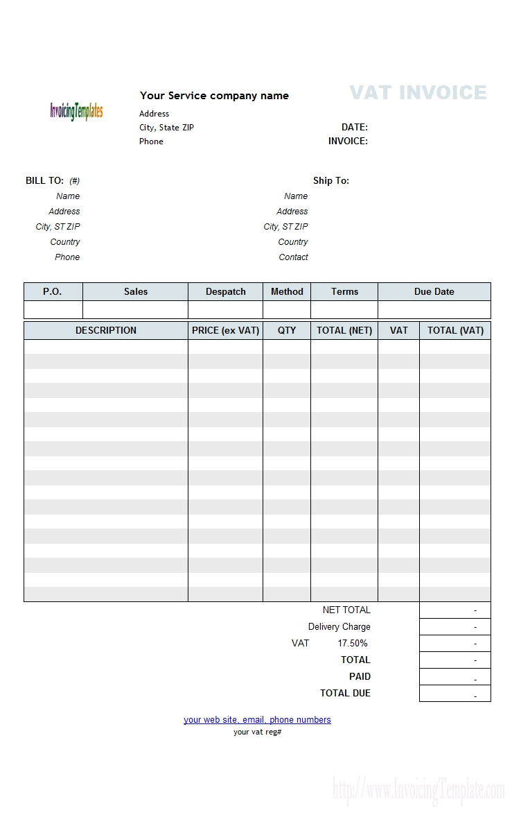 free vat service invoice template price excluding tax vat invoice template uk