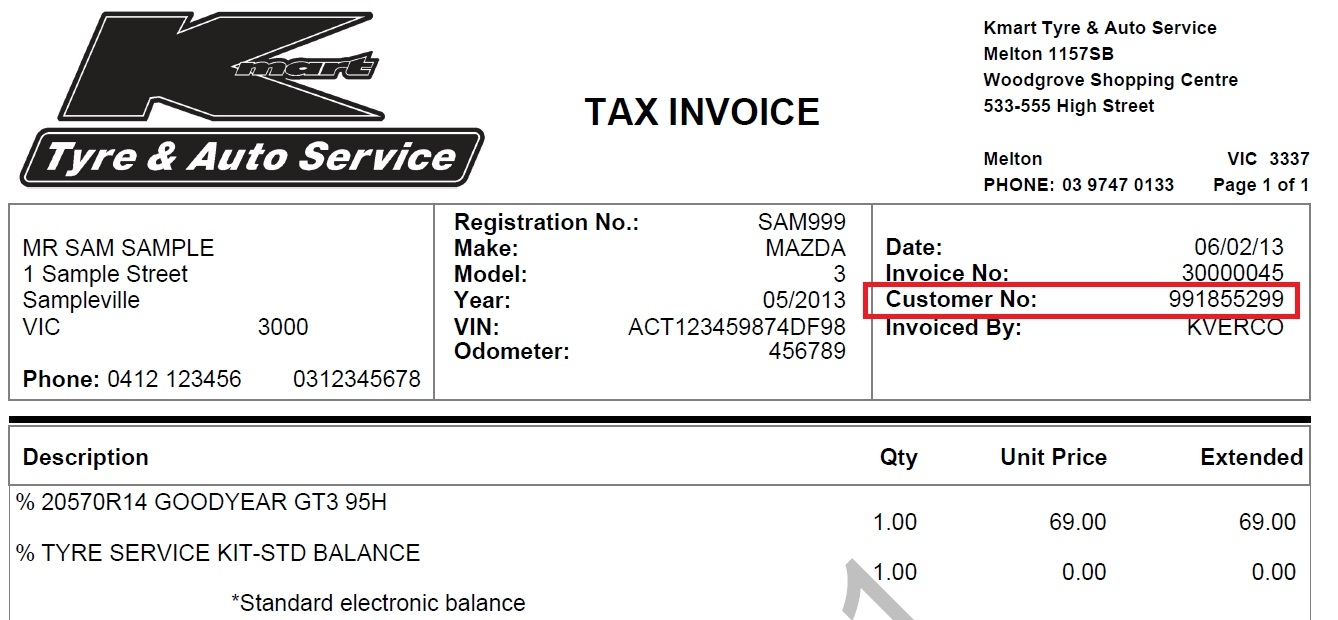 Invoice Number Sample
