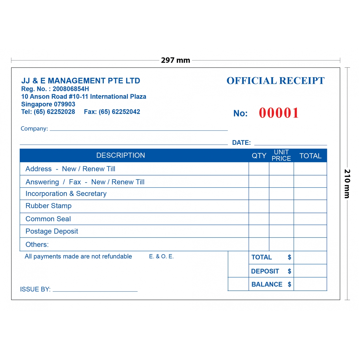 jj amp e invoice receipt book a4 10 books invoice receipt book