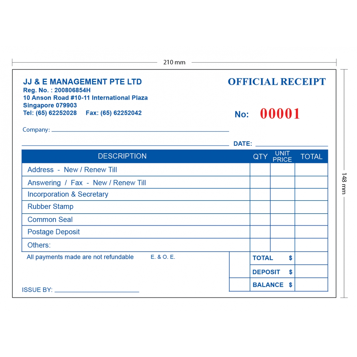 jj amp e invoice receipt book printing singapore invoice receipt book