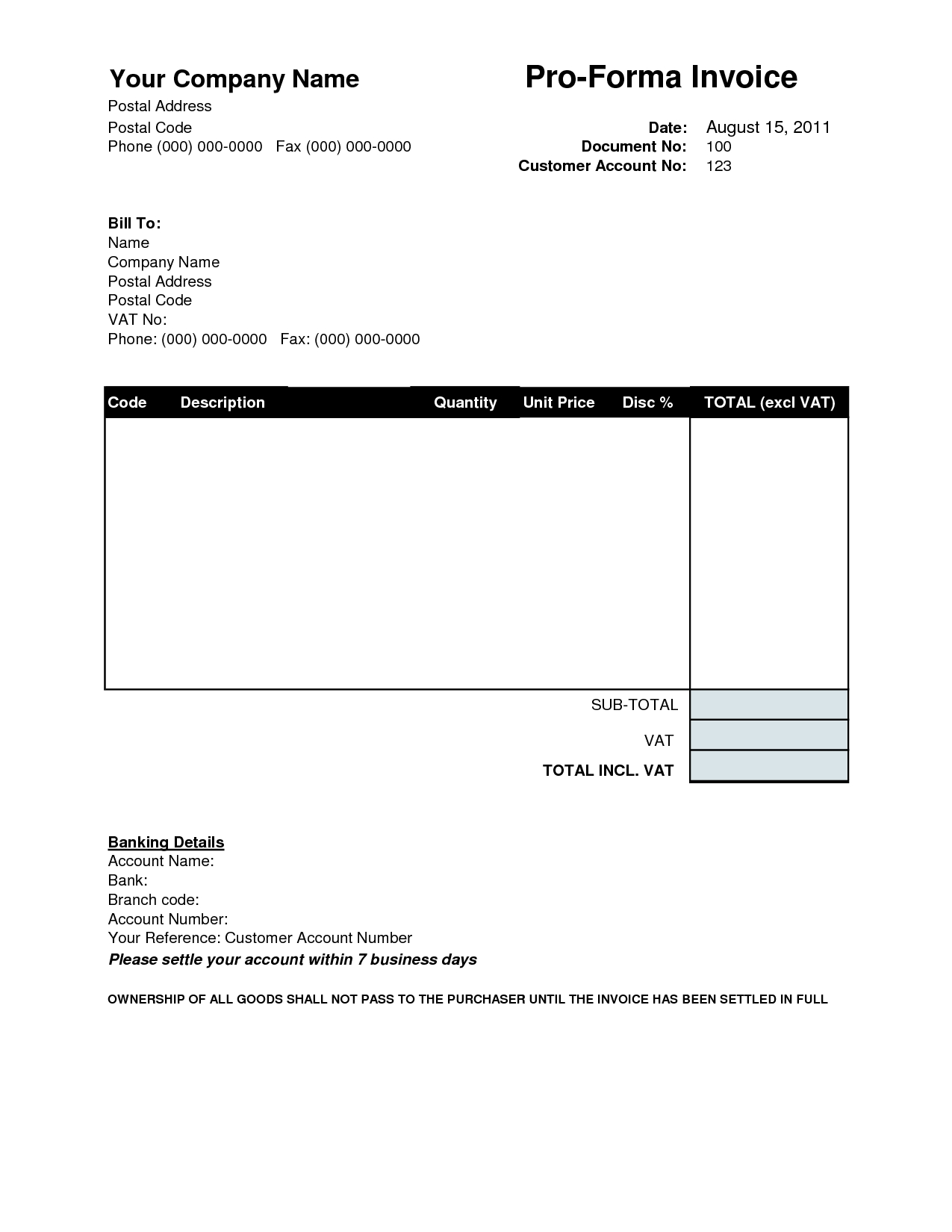 Sample Of Proforma Invoice