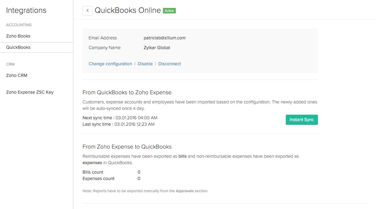 Zoho Invoice Quickbooks