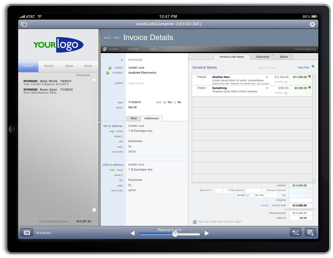 filemaker go templates - invoices for ipad invoice template ideas