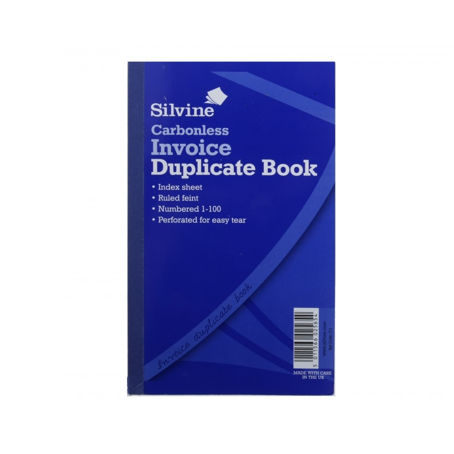 silvine duplicate invoice book carbonless numbered 1 100 100 duplicate invoice book