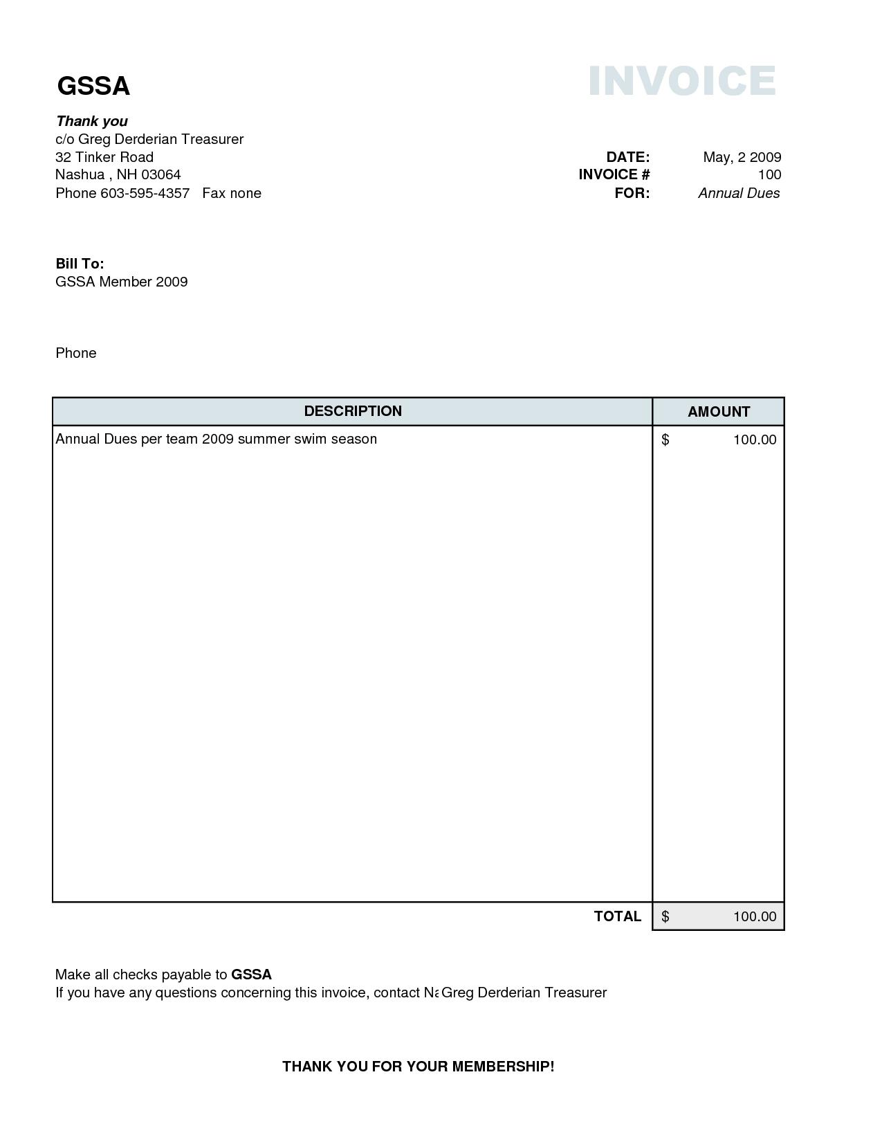 Free Simple Invoice