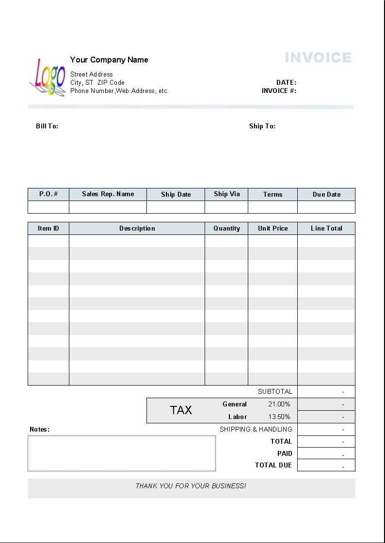 Printable MS Excel Purchase Invoice Template  Word