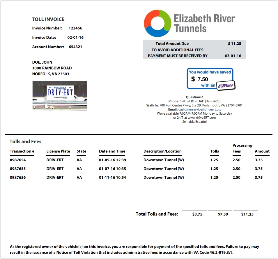about pay plate elizabeth river tunnels paying an invoice