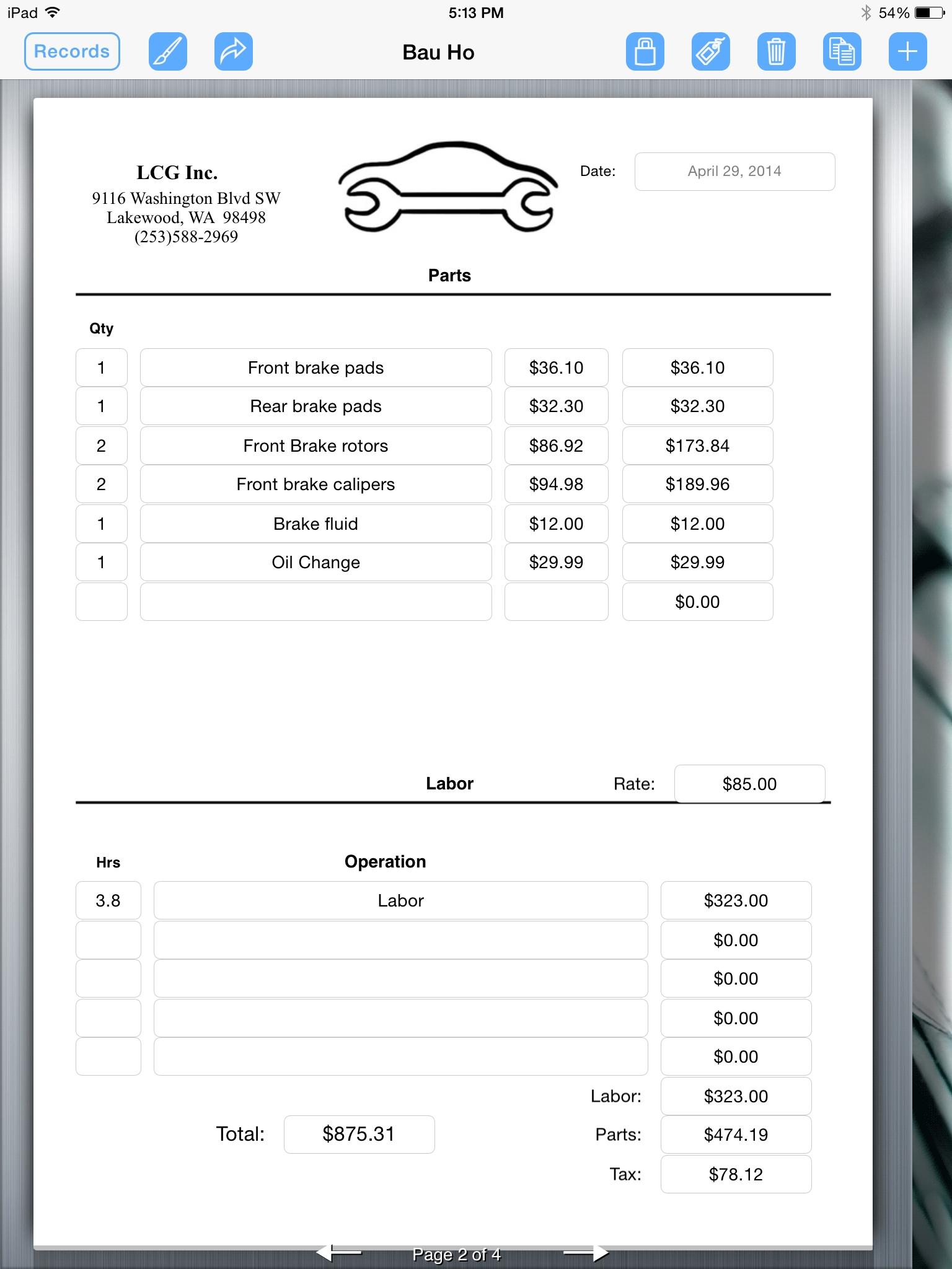 Auto Service Invoice