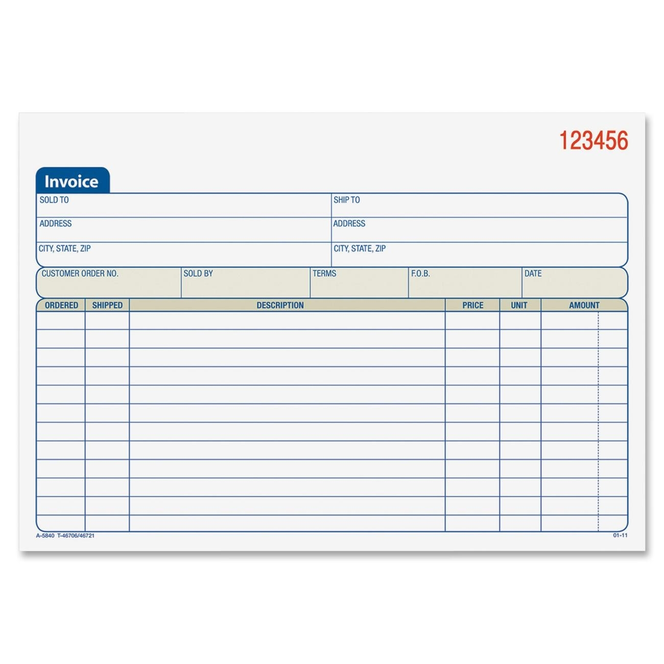 Carbonless Invoice Book