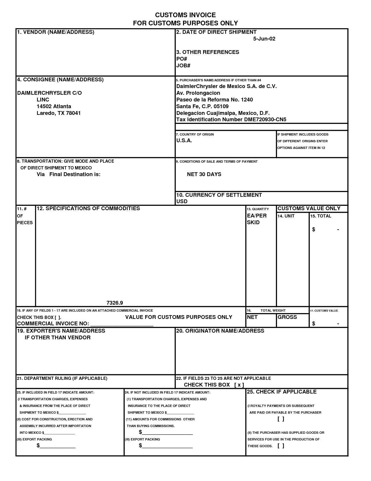 us customs commercial invoice * invoice template ideas, Invoice templates