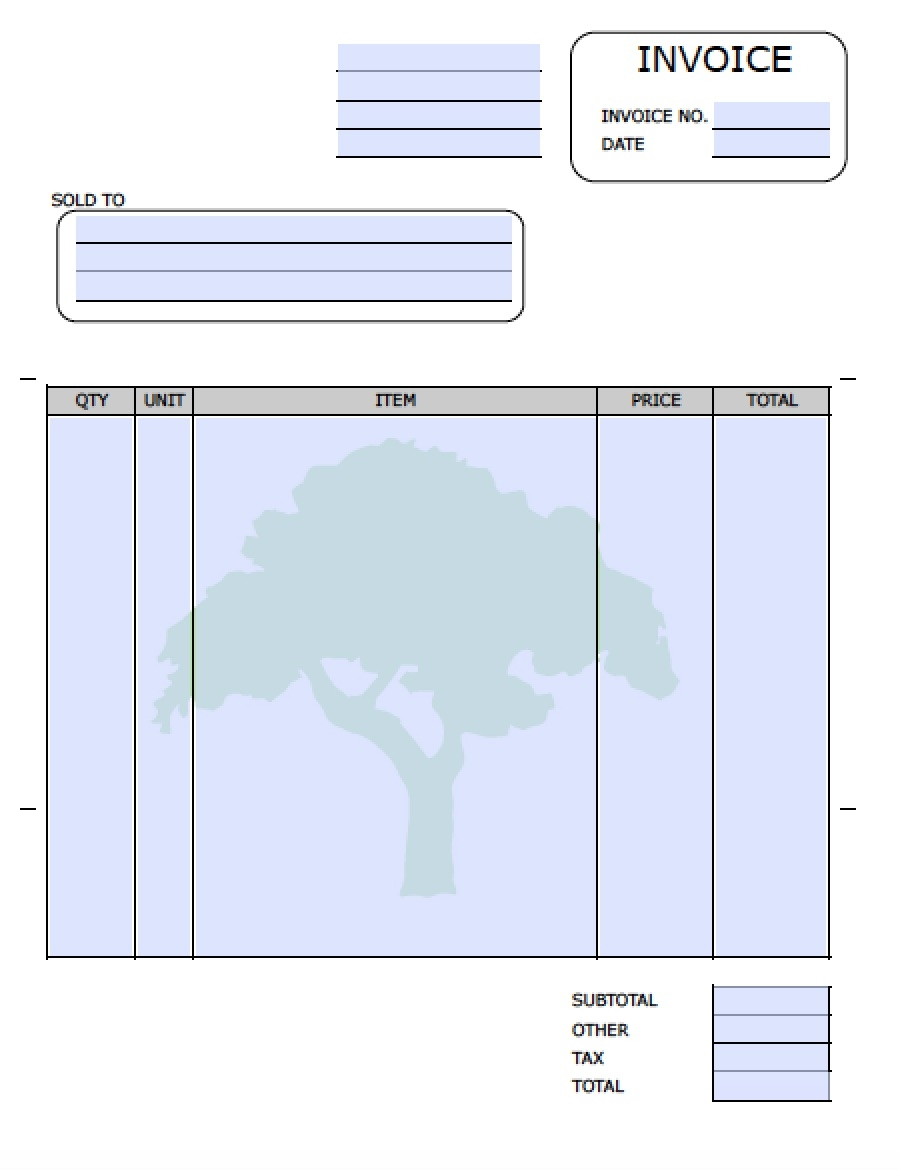 free landscaping lawn care service invoice template excel lawn maintenance invoice