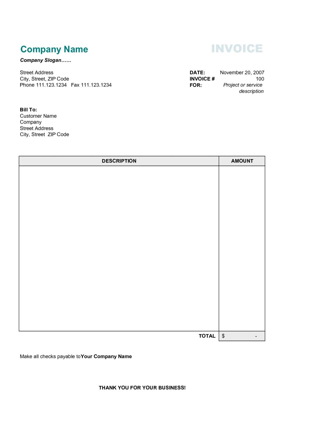 free printable business invoices invoice sample blank invoice editable invoice template blank 1024 X 1448