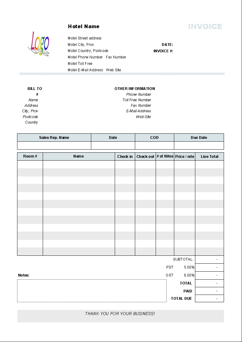 hotel invoice template 110 free download hotel invoice format