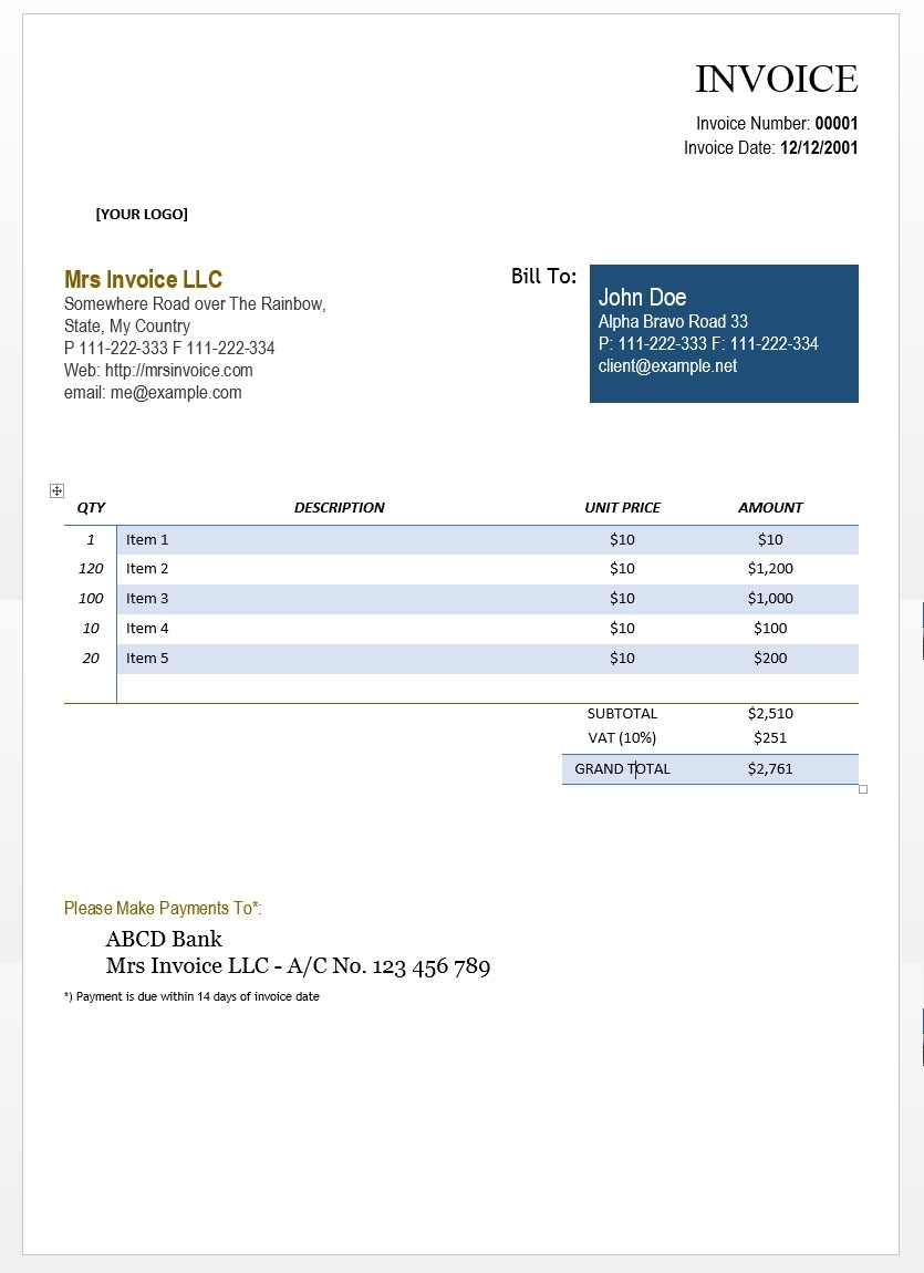 Invoice In Word * Invoice Template Ideas