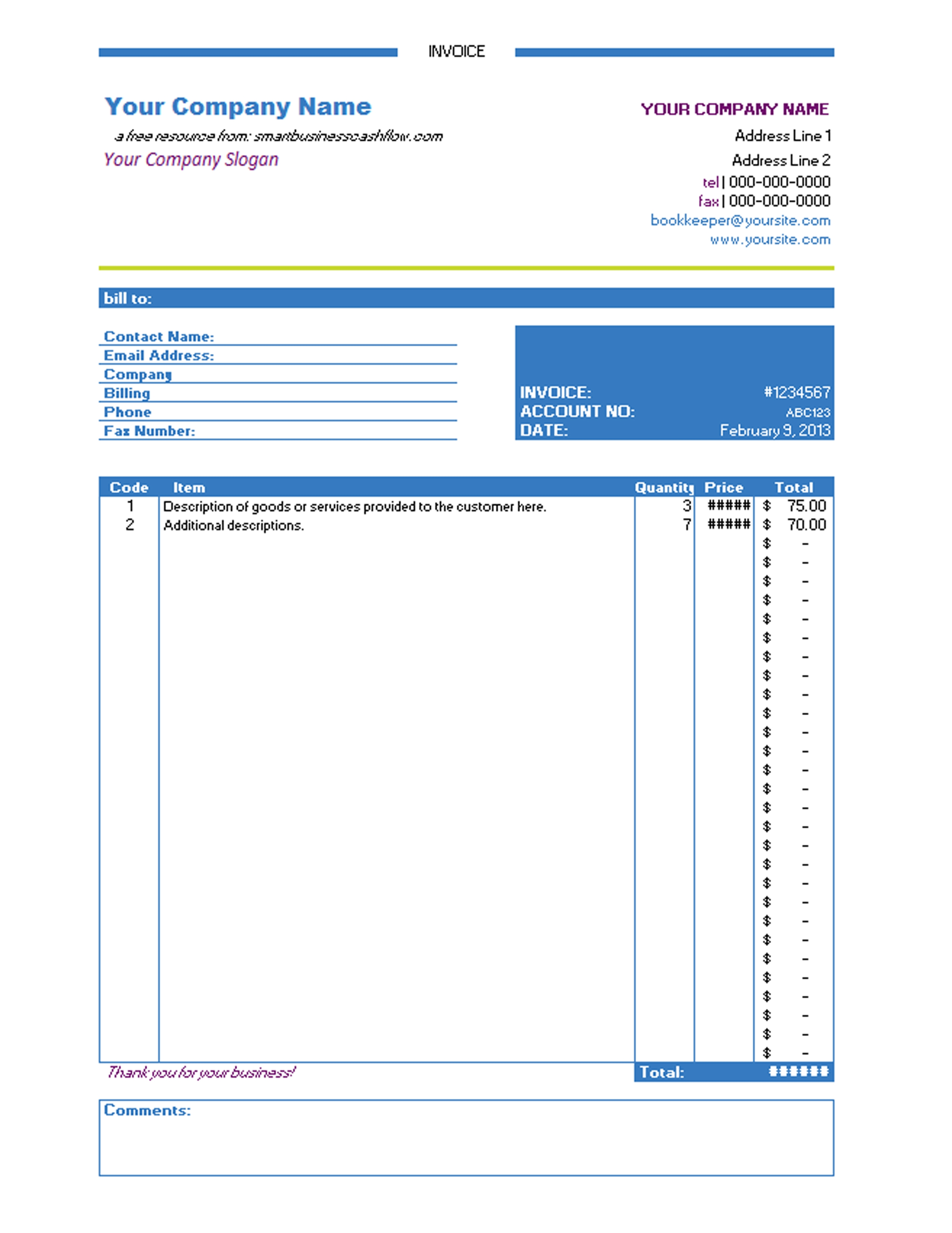 Free Invoice Templates Excel