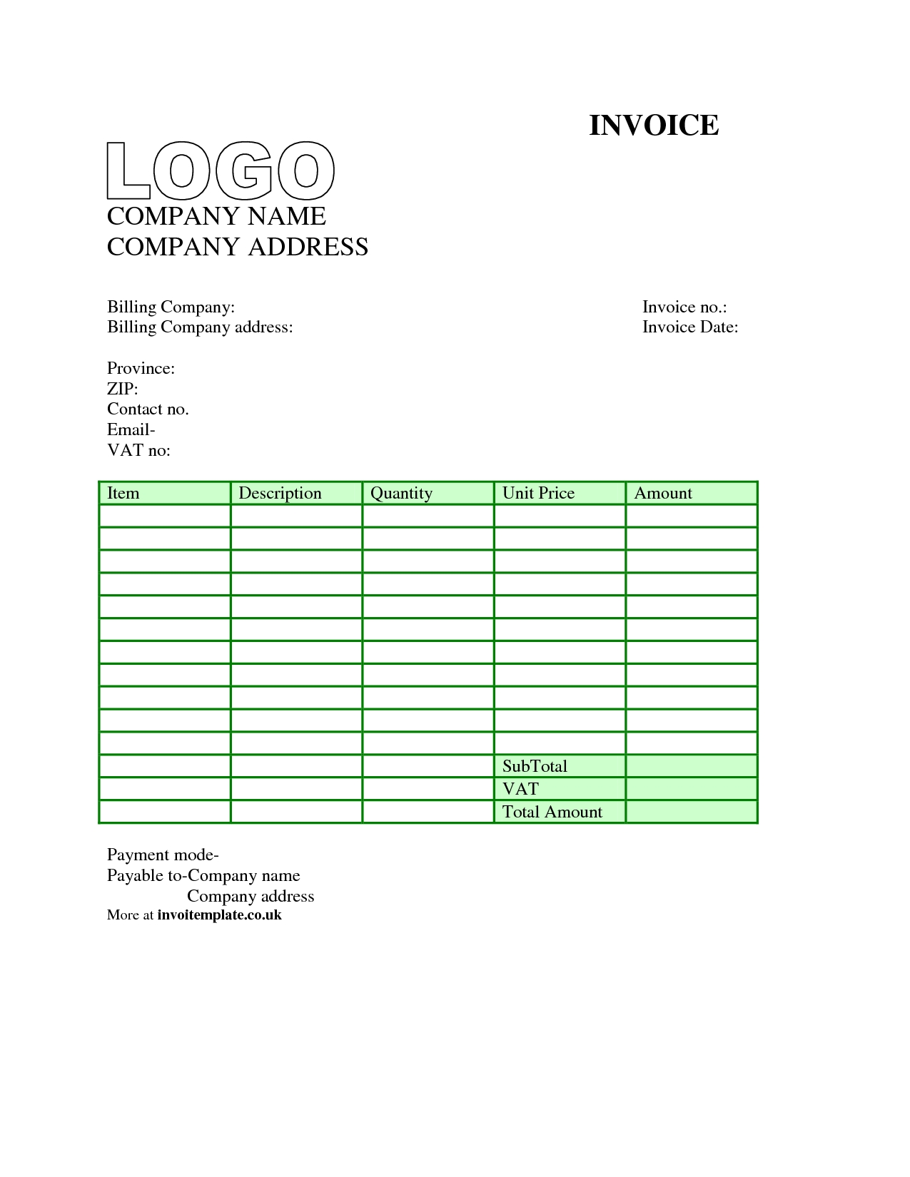 Invoice Template Word Free Download