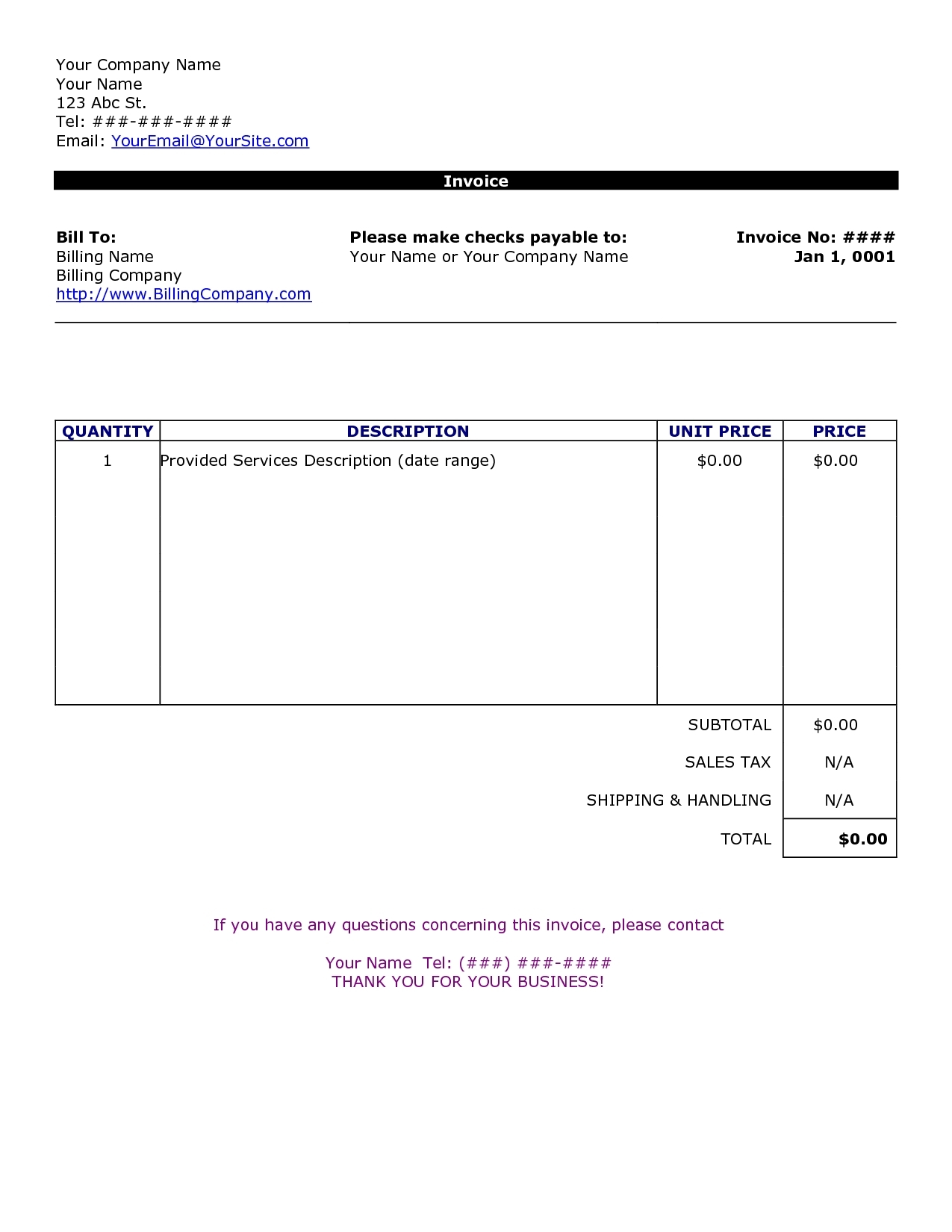 Invoice Template Word Format