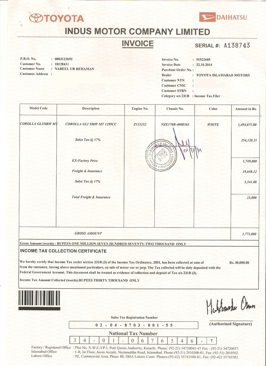 new toyota corolla buyer given a defective car indus motors toyota corolla invoice