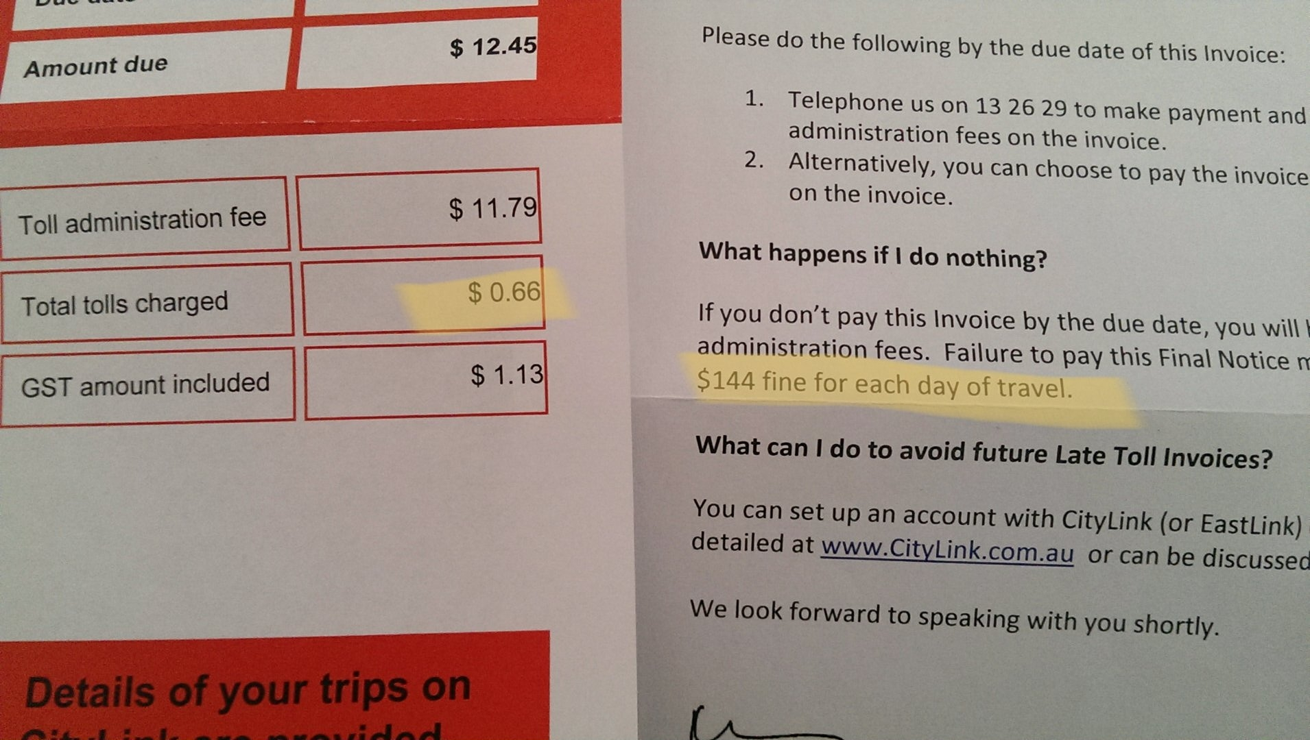 Citylink Late Toll Invoice Cost