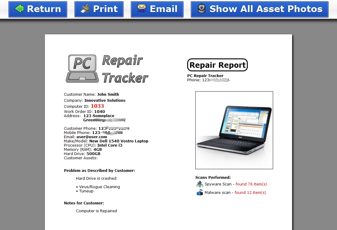 Computer repair invoice invoice template ideas for Software problem report template