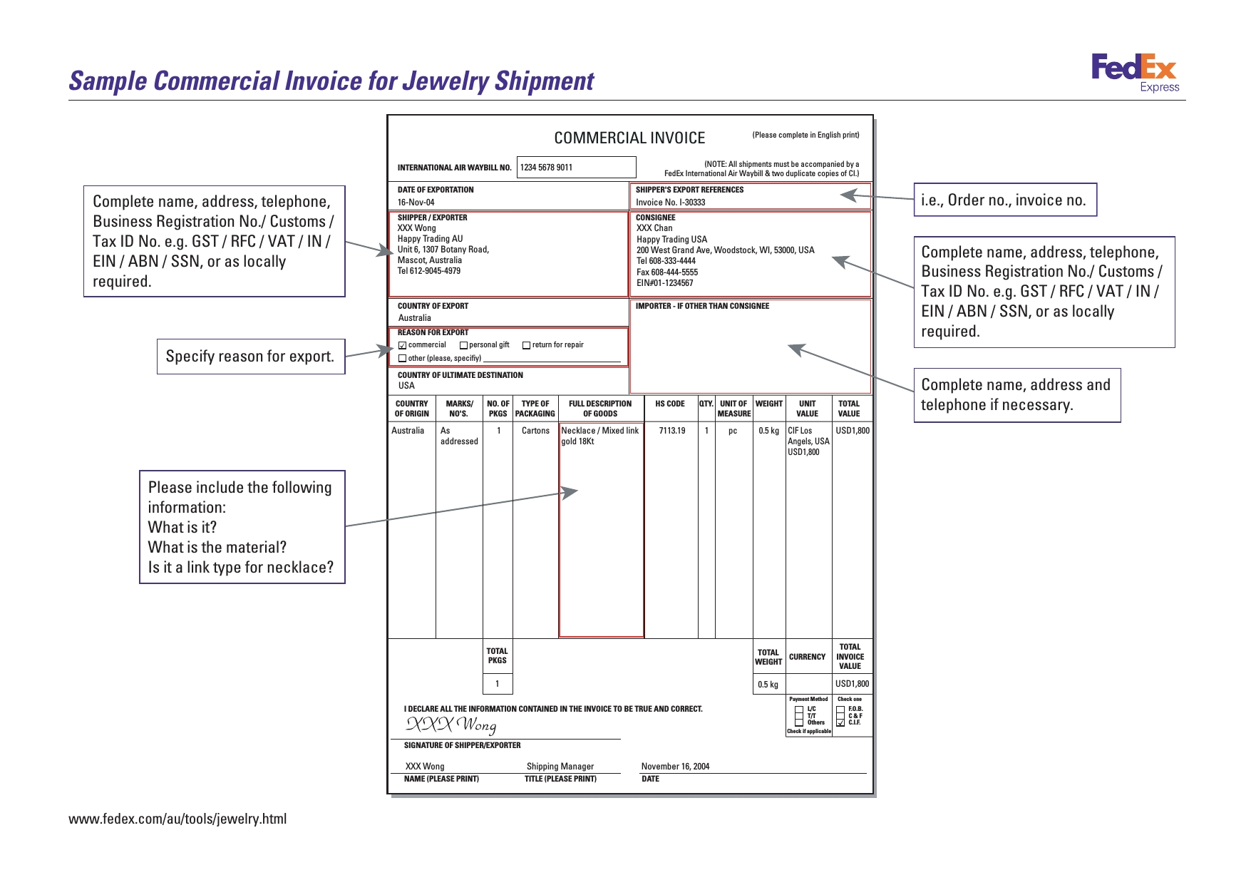 sample commercial invoice for jewelry shipment no commercial value invoice