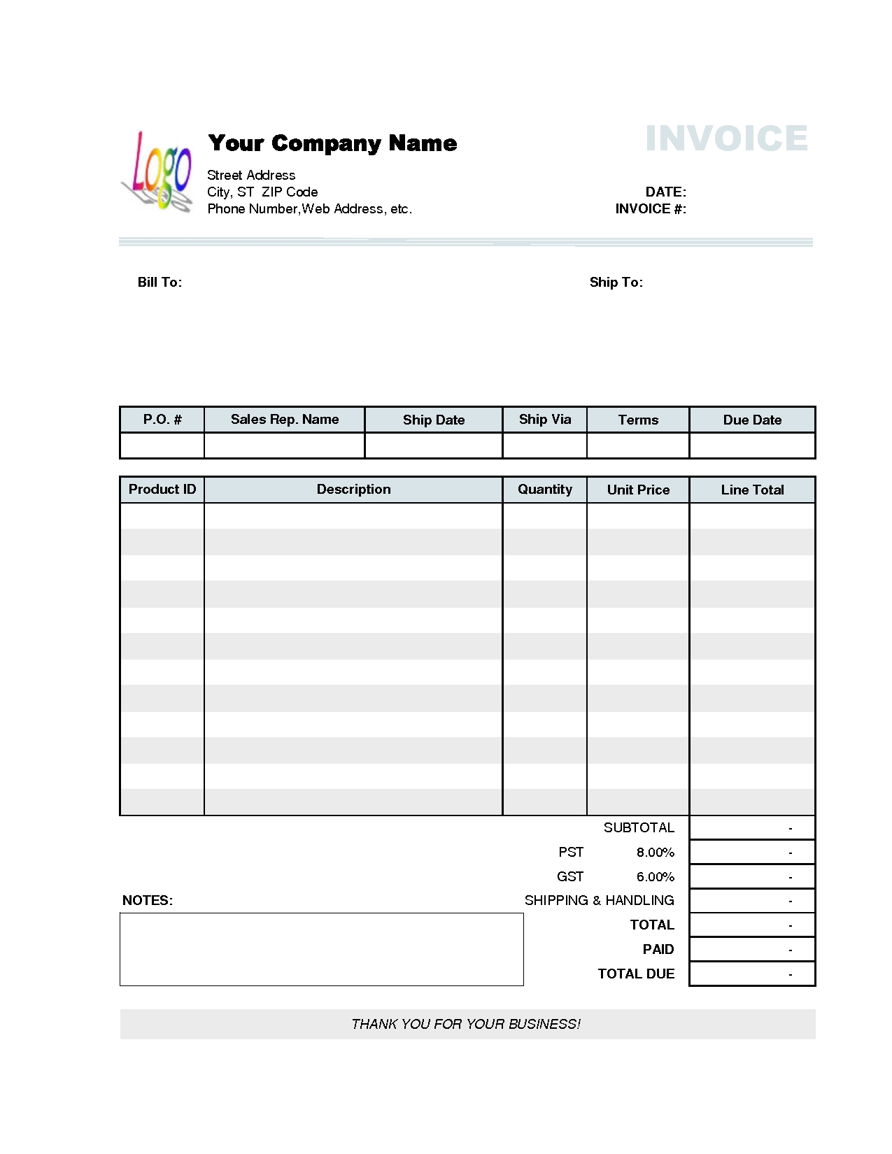 Company Invoice Forms