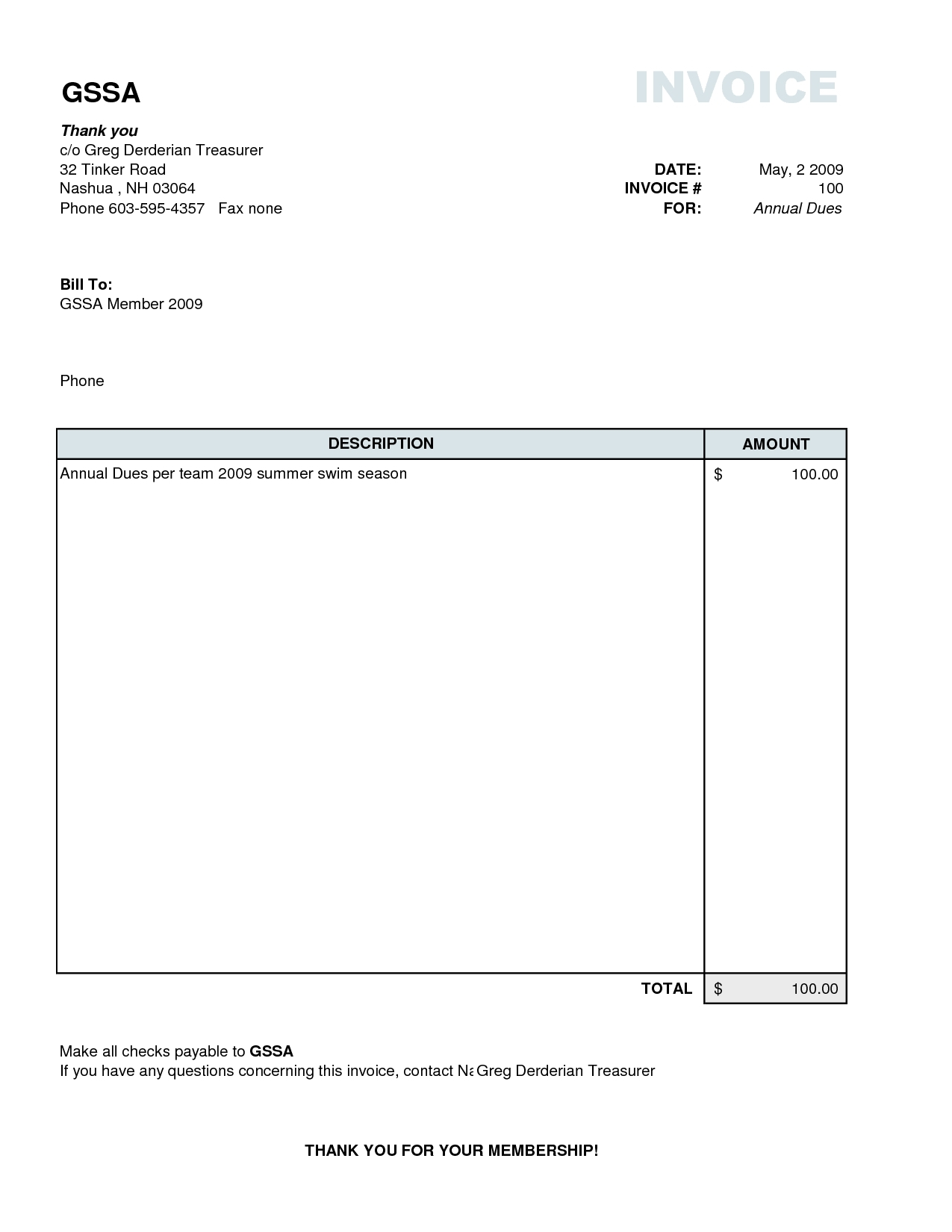 Simple Invoice Example