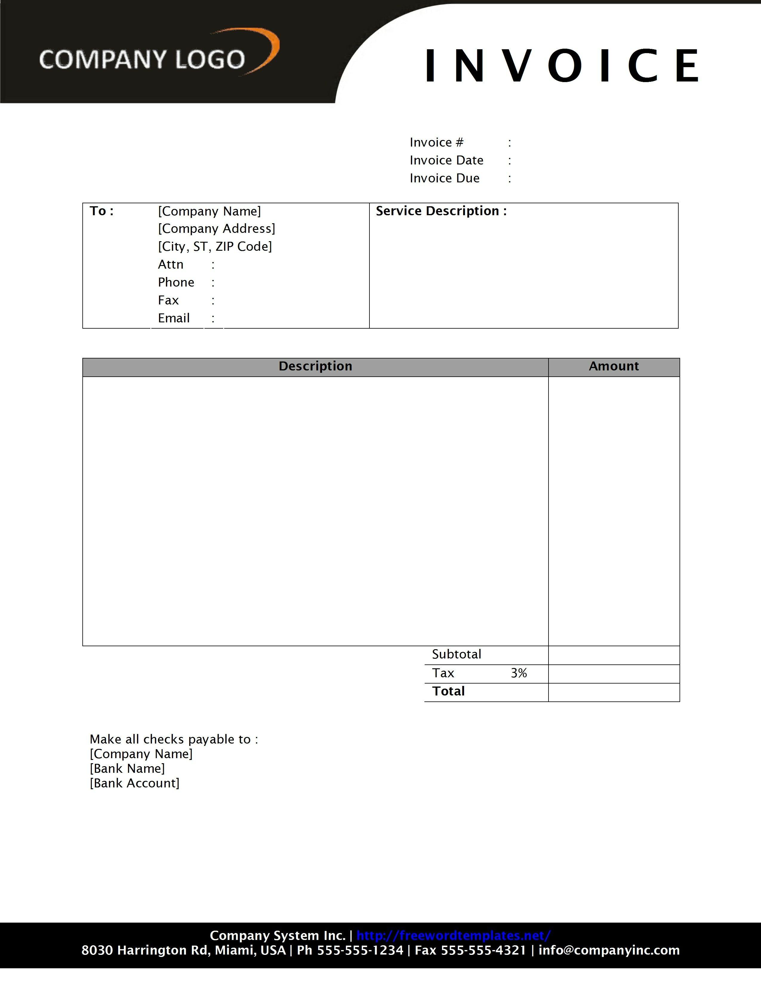 Simple Service Invoice