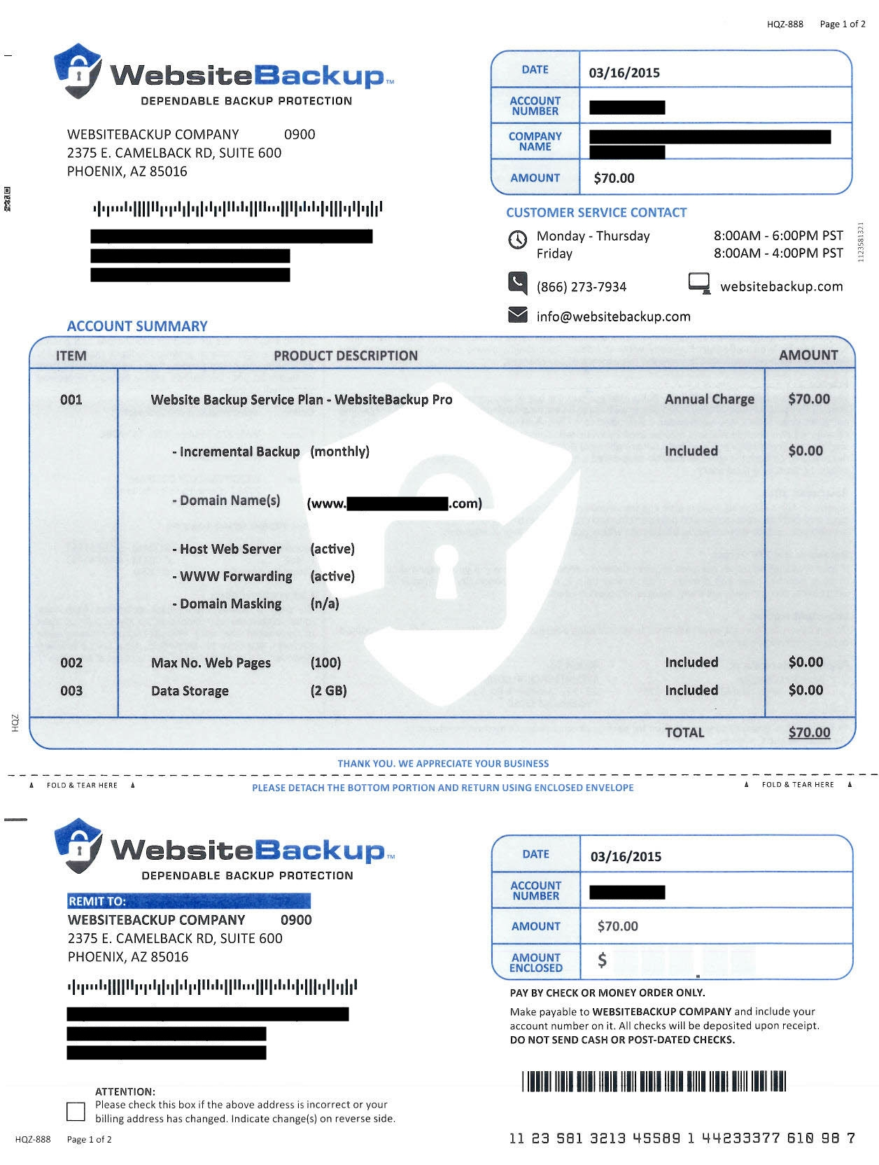 invoice for website