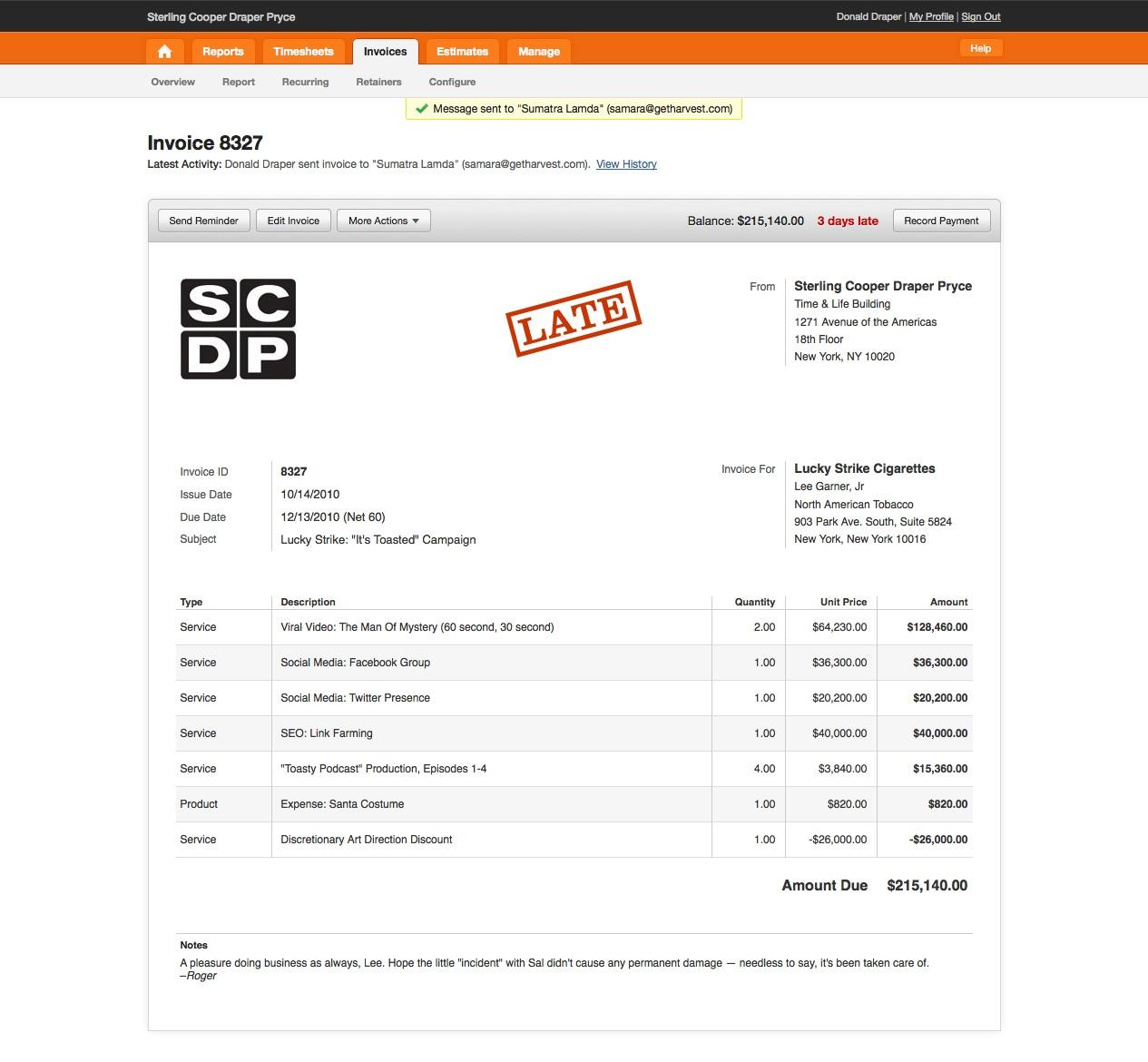 web design invoice sample
