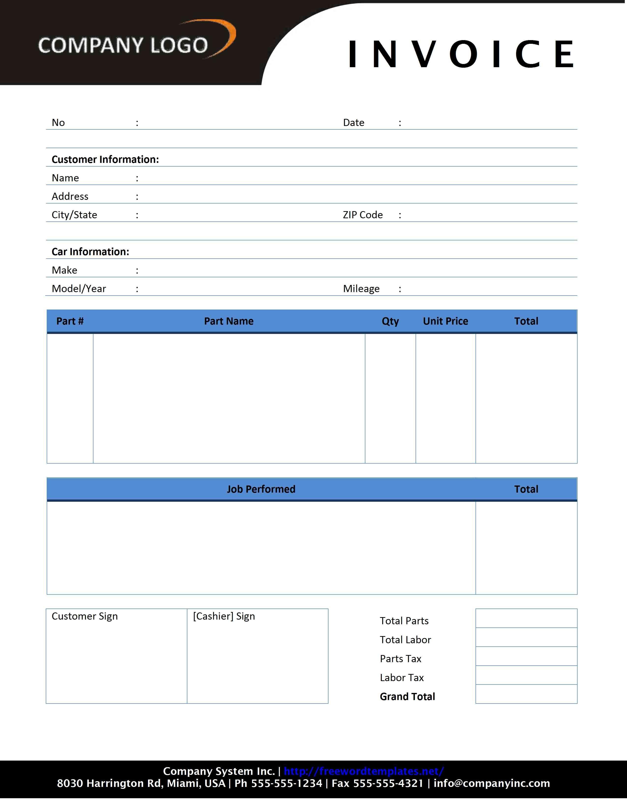 Auto Repair Invoice Sample