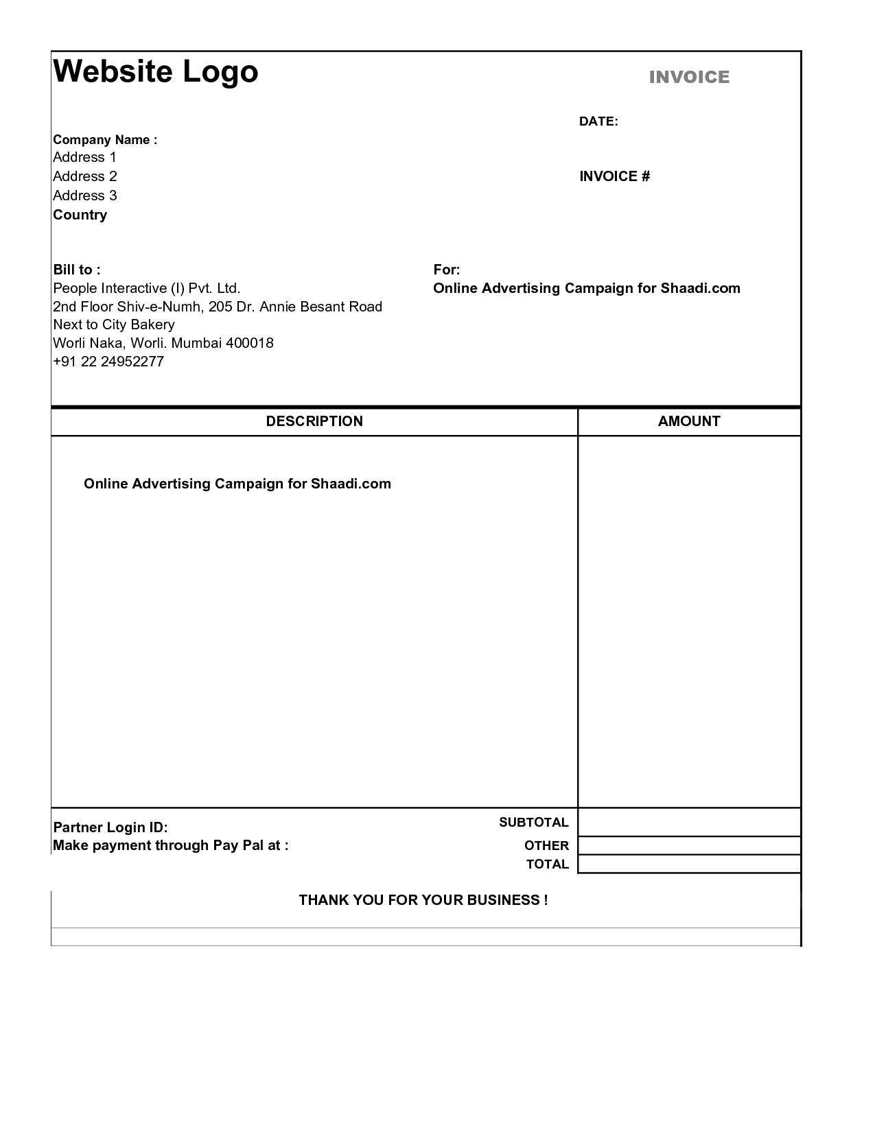 Free Simple Invoice Template; Simple Invoice Template Pdf