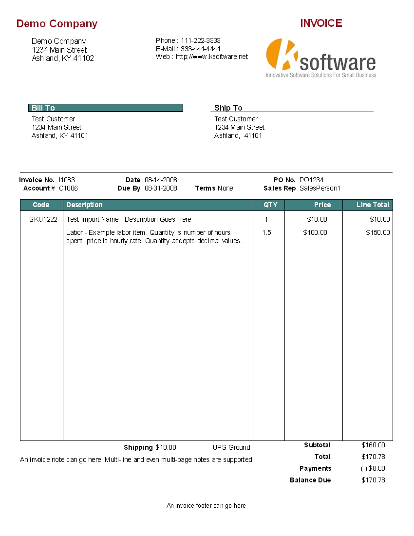 Examples Of Invoices For Services