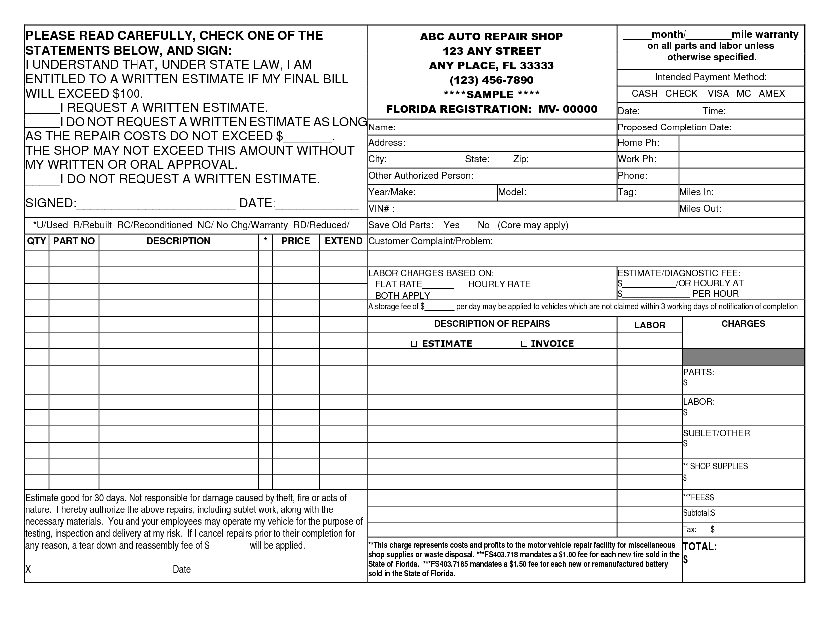 blank auto repair invoice form blank auto repair invoice form car repair invoice
