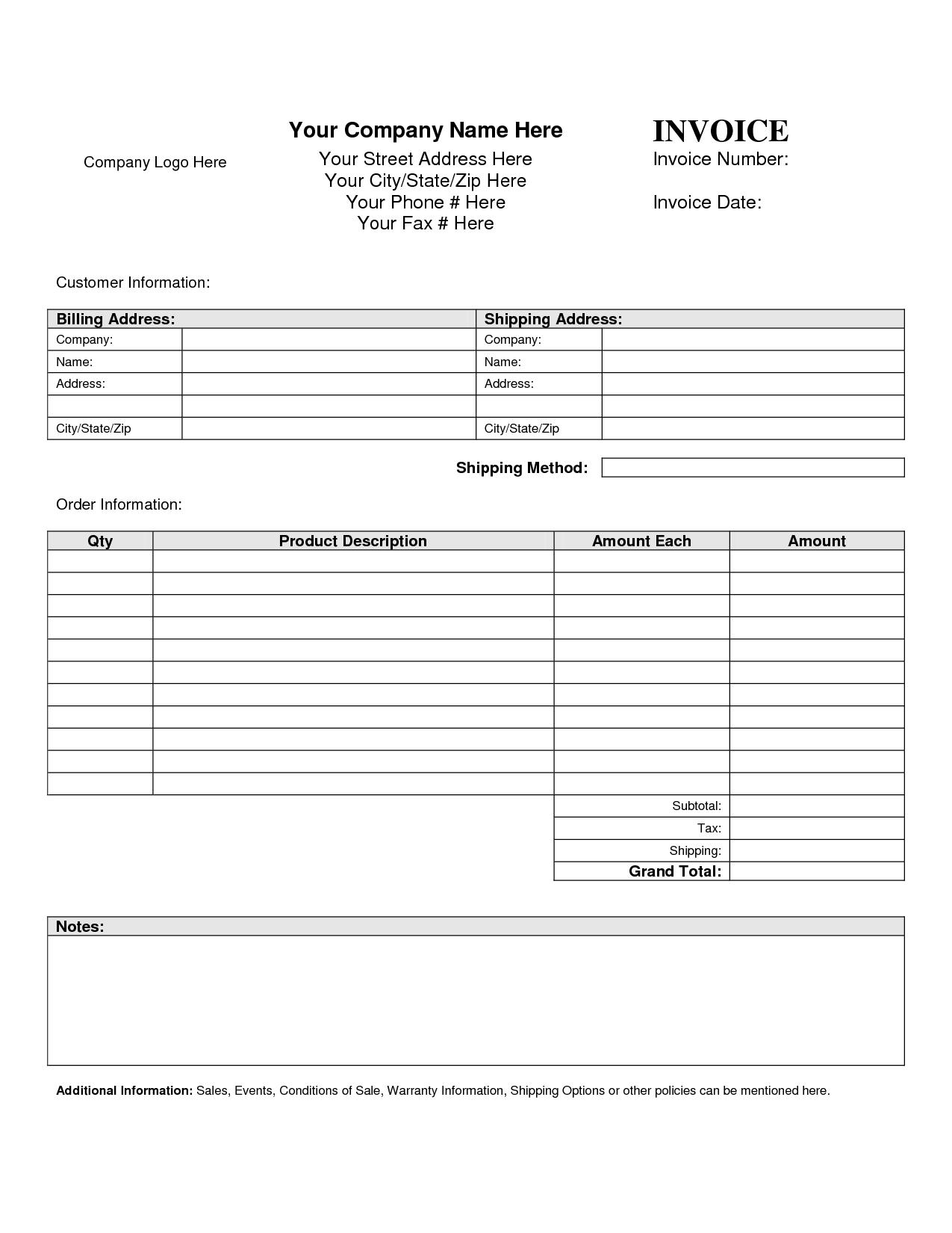 blank invoice templates blank invoice template blankinvoice 1275 X 1650
