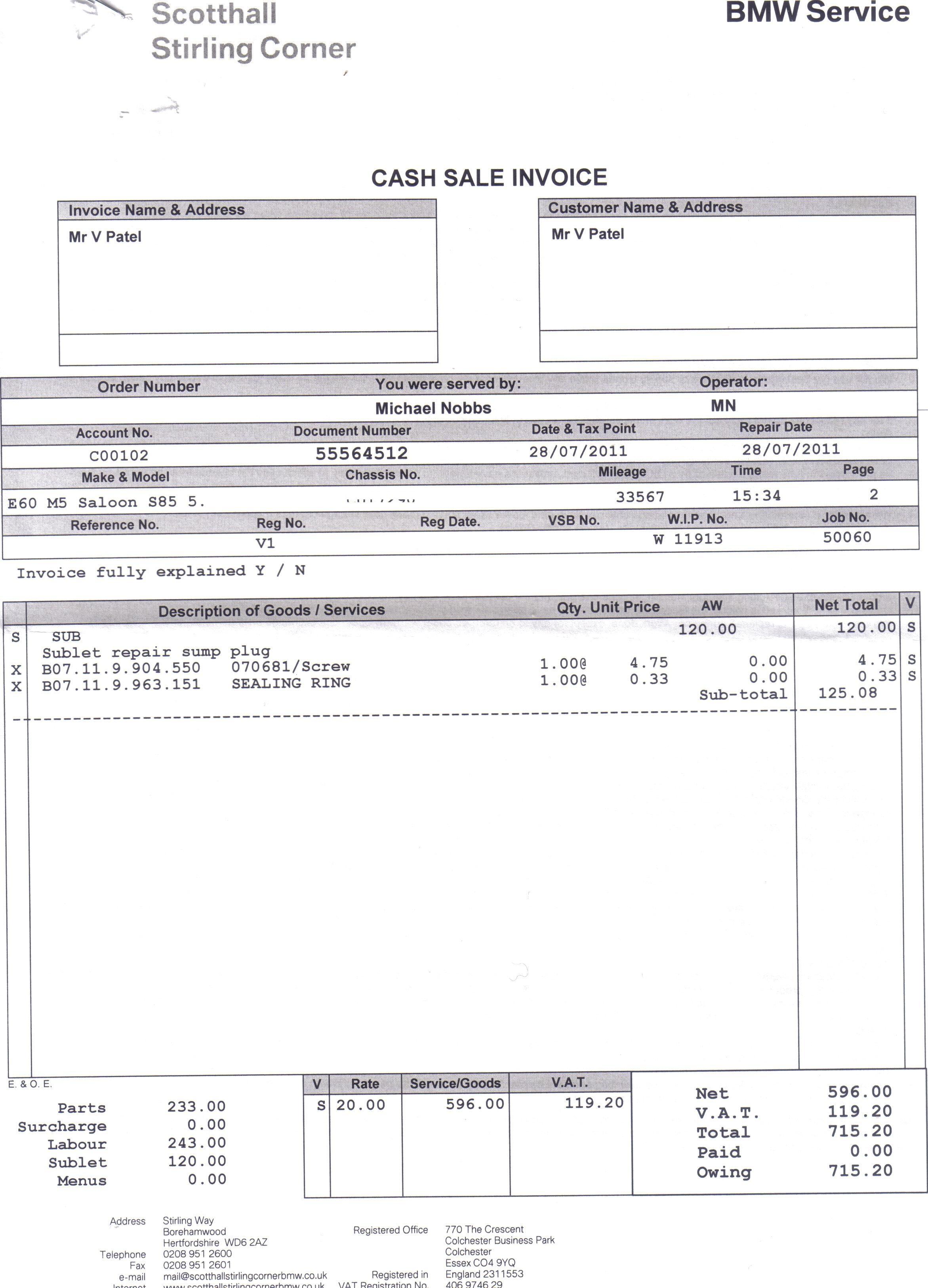 bmw dealer broke oil sump bmw m5 forum and m6 forums bmw dealer invoice