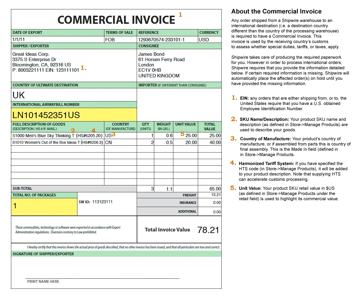 commercial shipping invoice international commercial invoice international invoice template