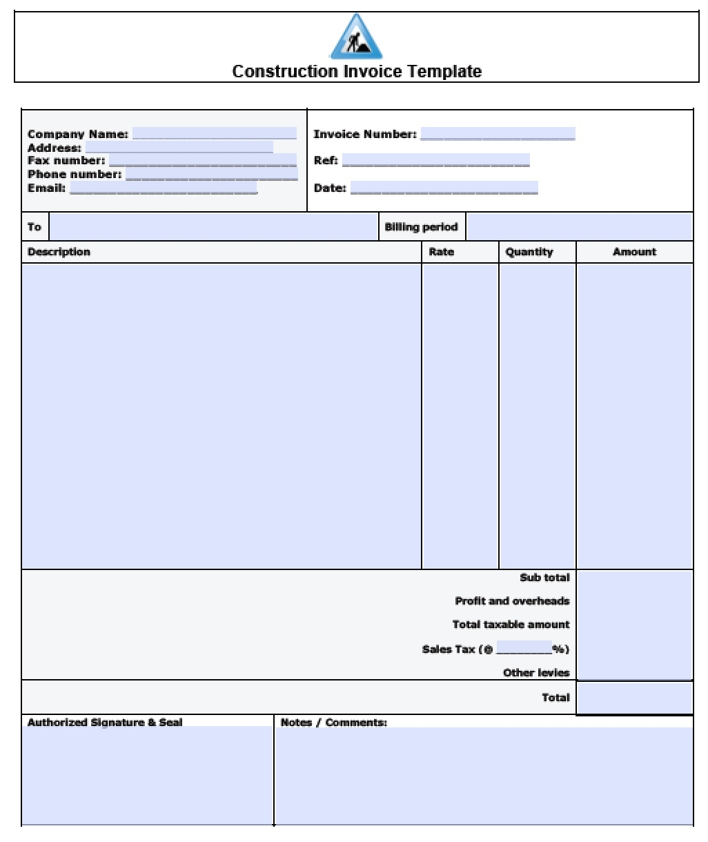 construction invoice template free construction invoice template excel pdf word doc 1026 X 1220