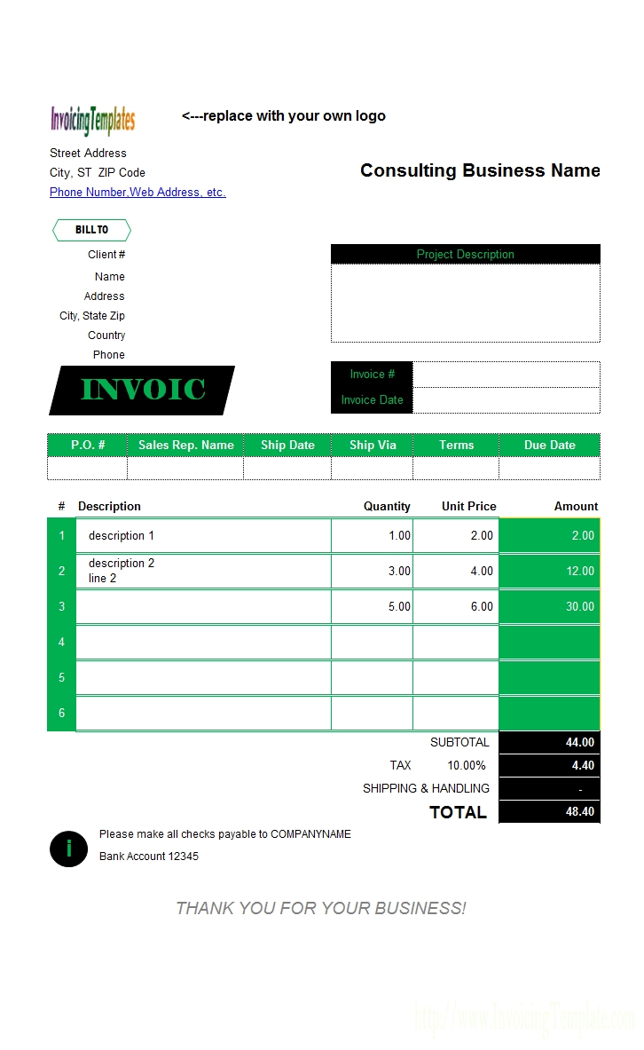 consulting invoice templates photo invoice template