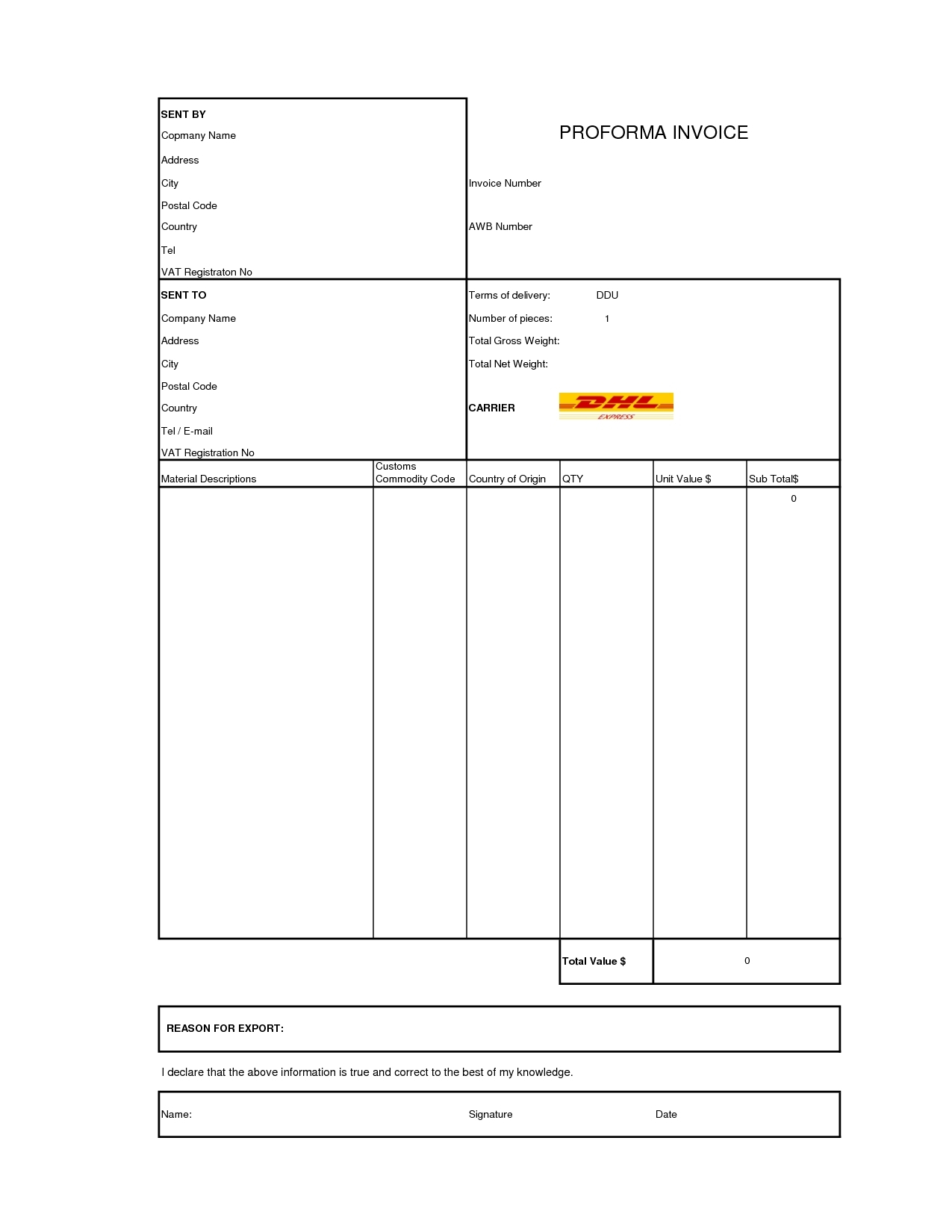 dhl proforma invoice template invoice template free 2016 dhl pro forma invoice